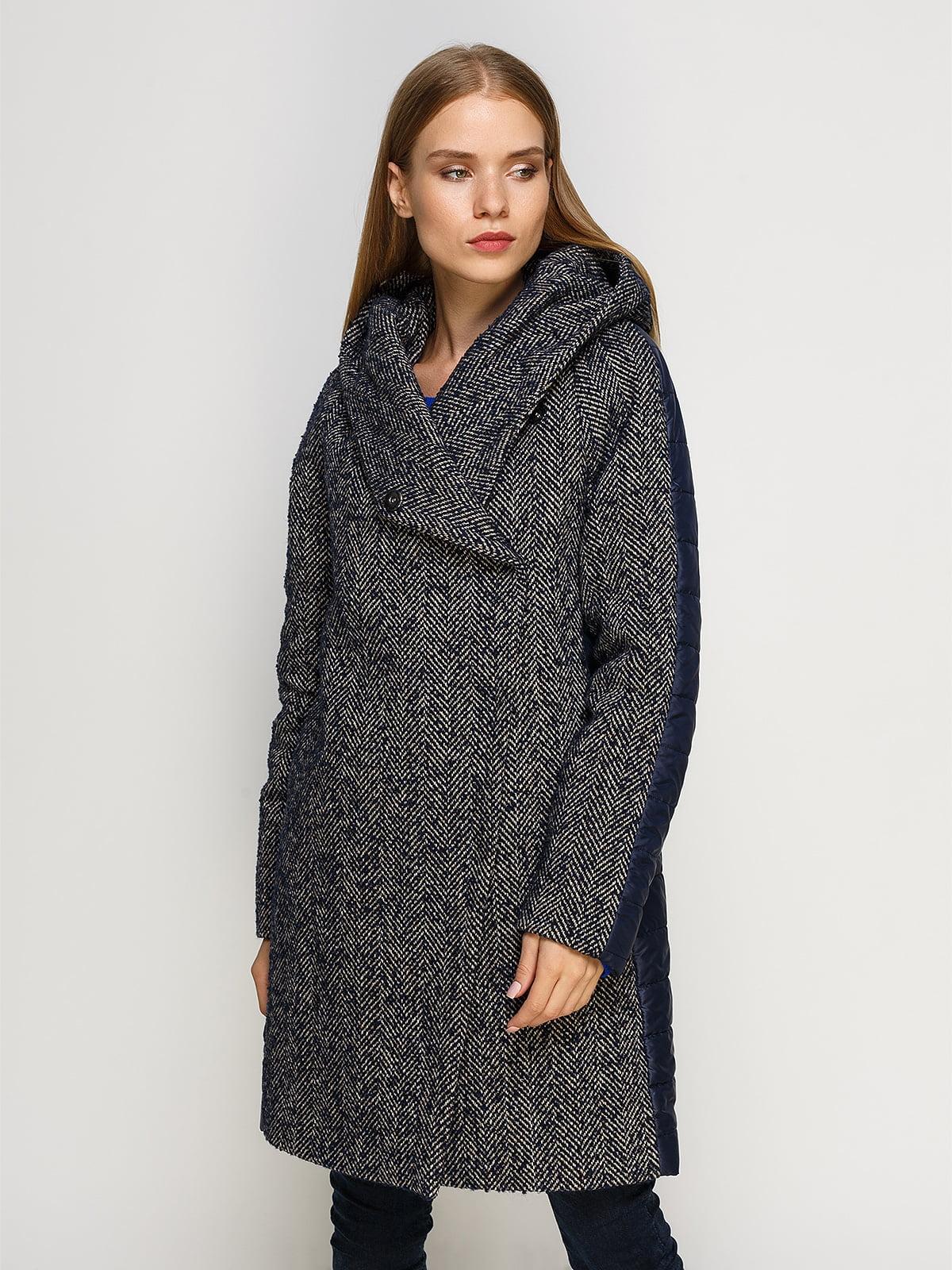 Пальто синее комбинированное