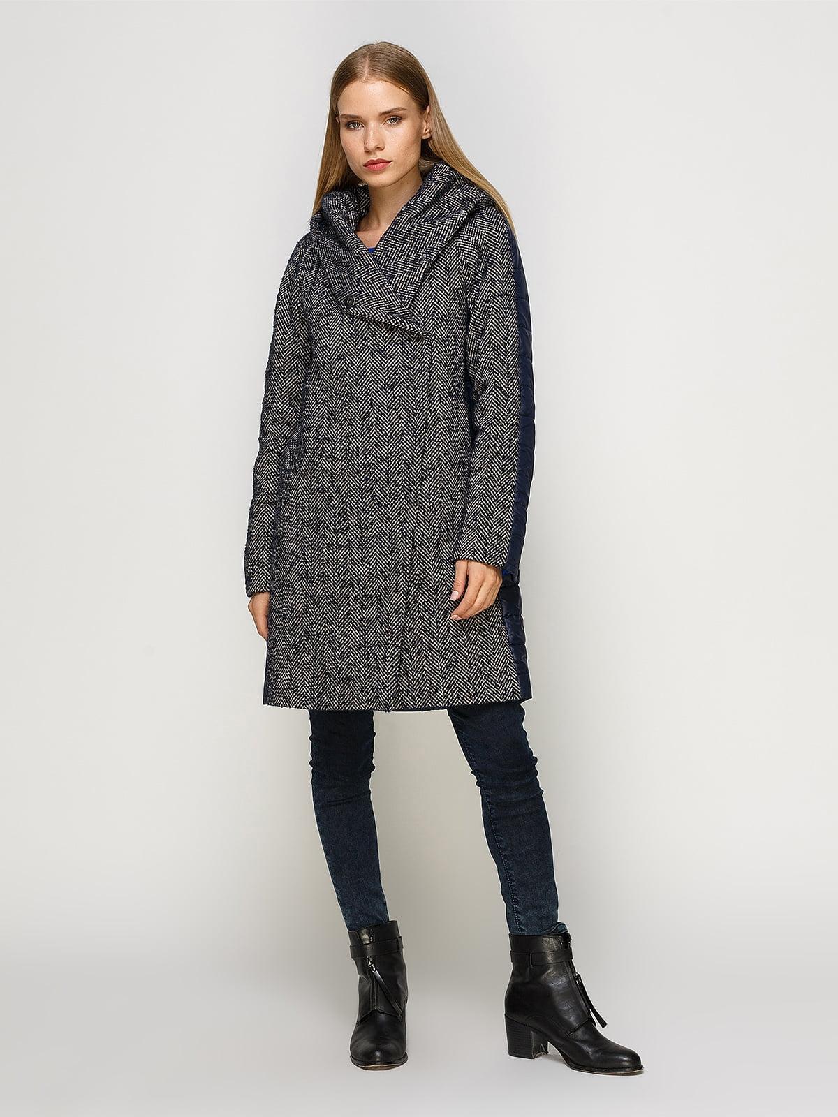 Пальто синее комбинированное | 4492639 | фото 2