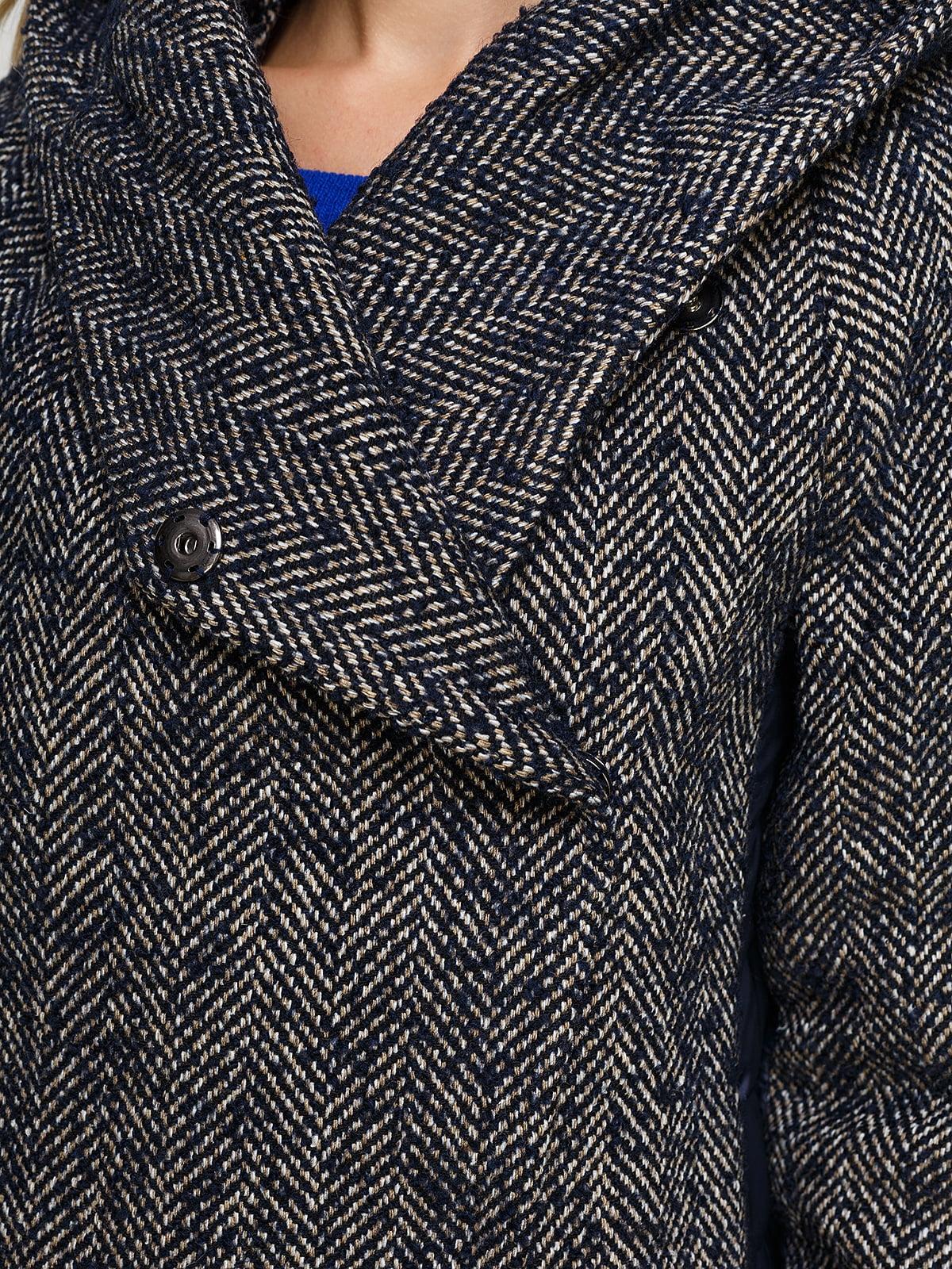 Пальто синее комбинированное | 4492639 | фото 4
