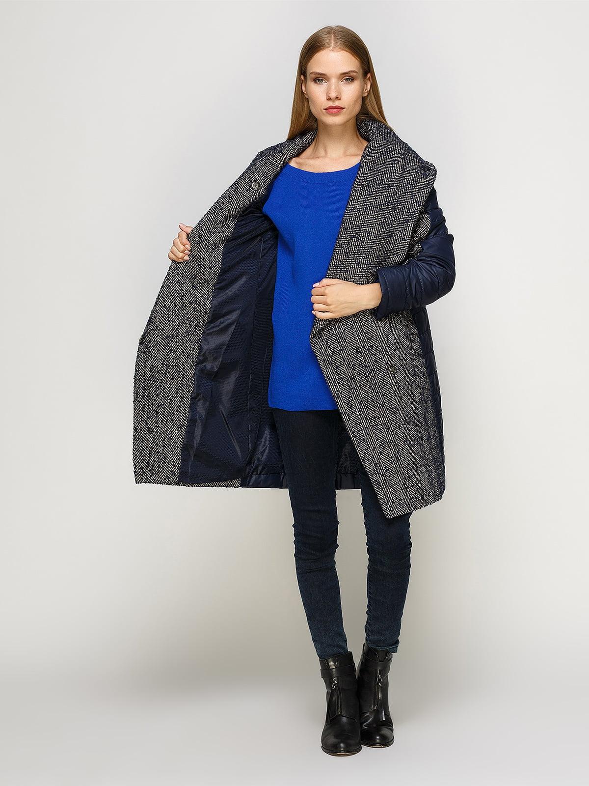 Пальто синее комбинированное | 4492639 | фото 5