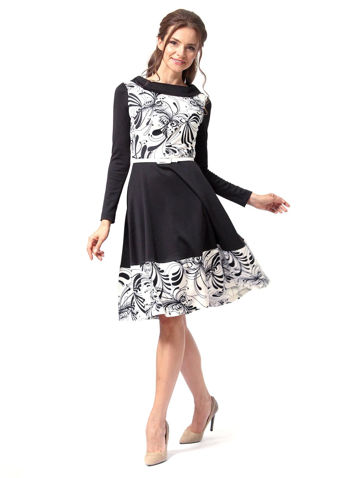 Платье черное с принтом | 4518856