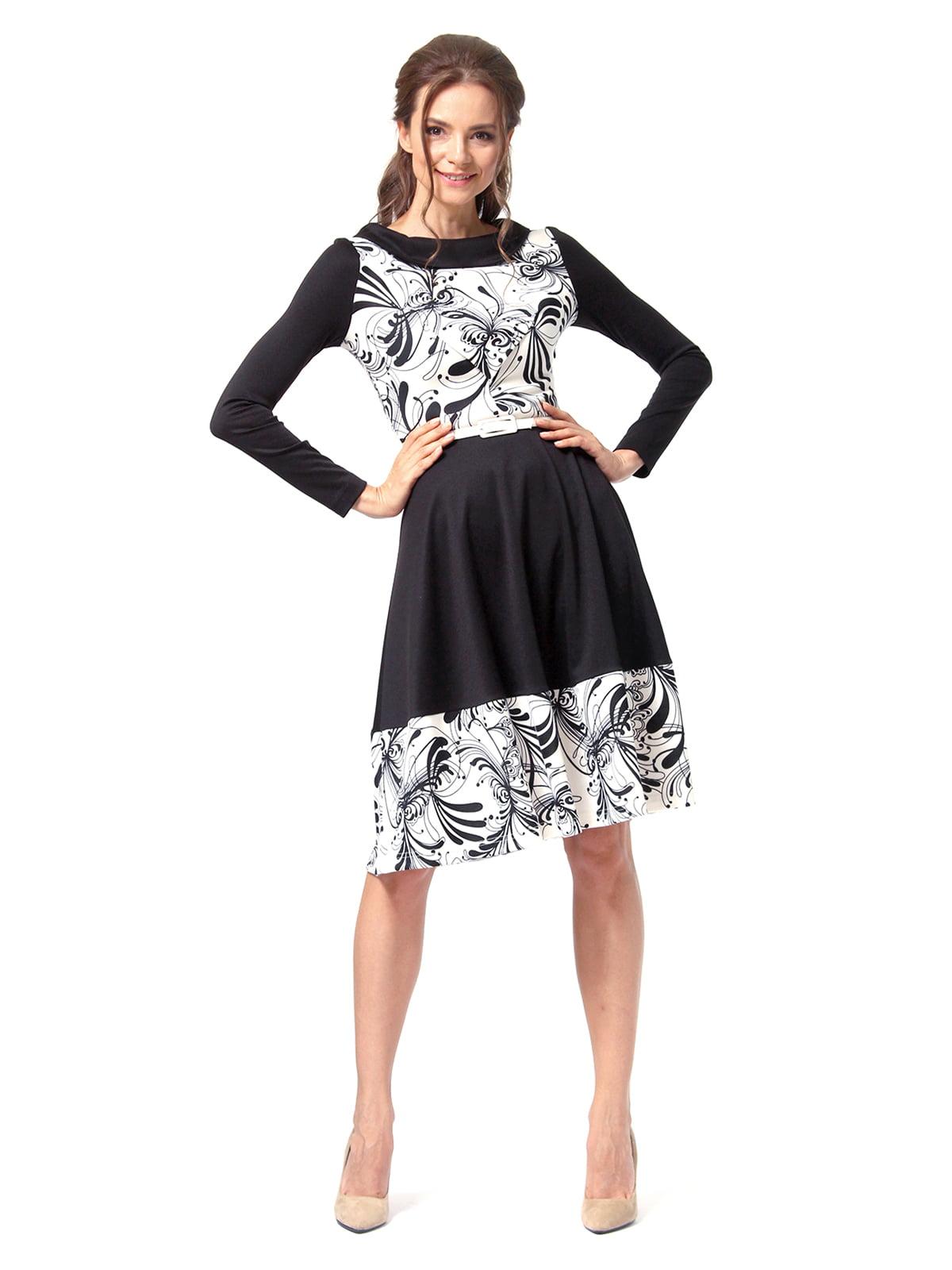 Платье черное с принтом | 4518856 | фото 2