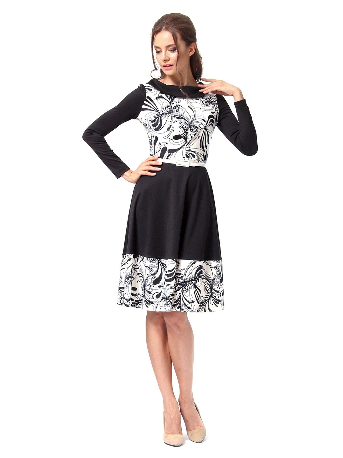 Платье черное с принтом | 4518856 | фото 3