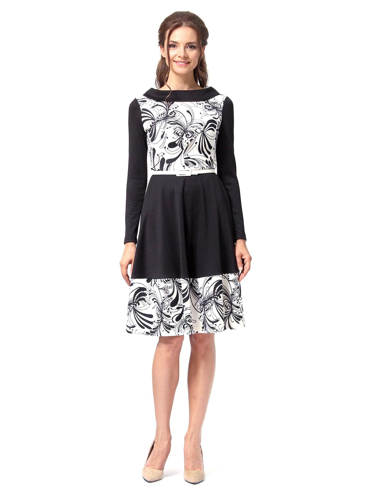Платье черное с принтом | 4518856 | фото 4
