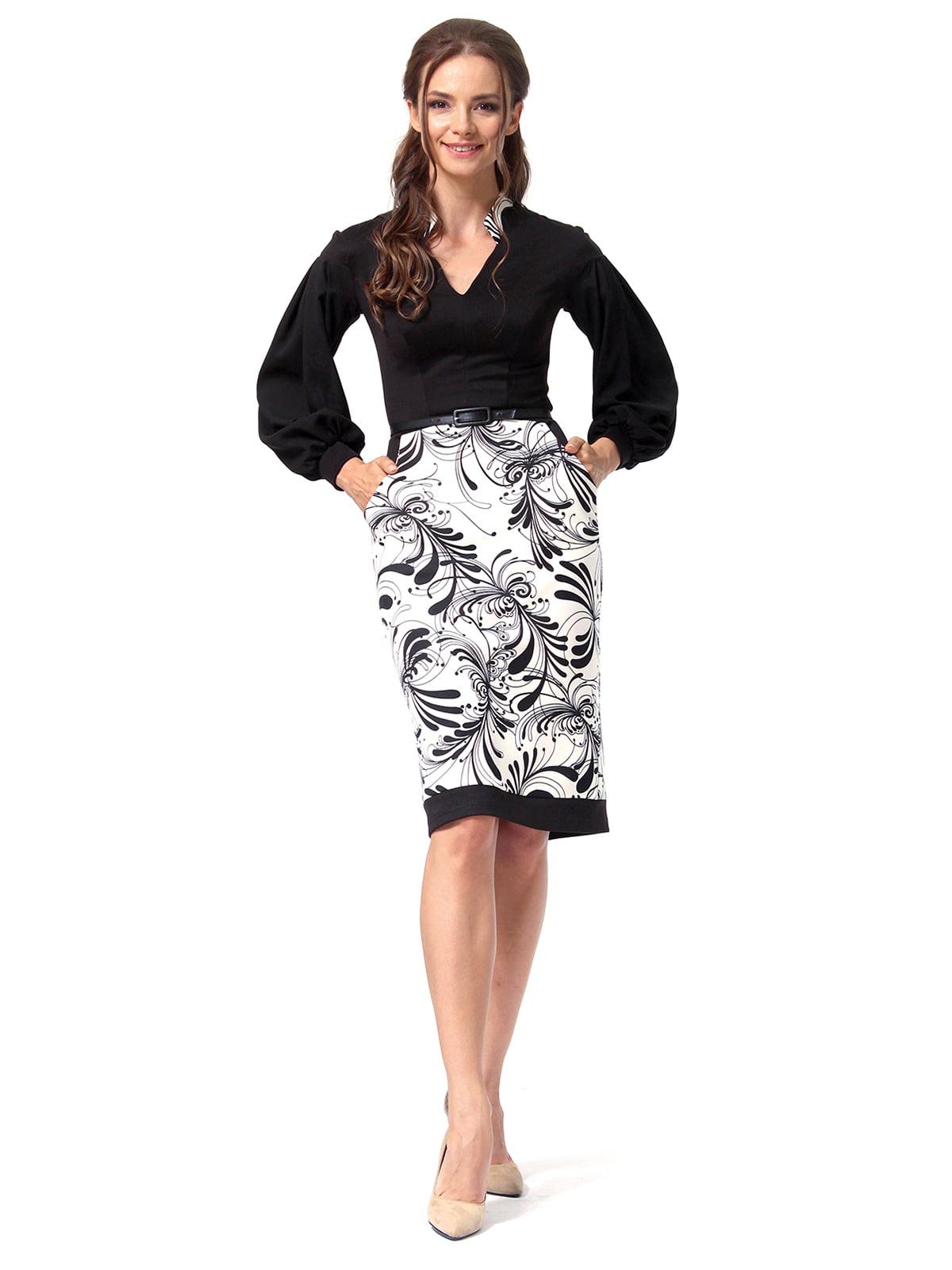 Платье черное с принтом | 4518867 | фото 2