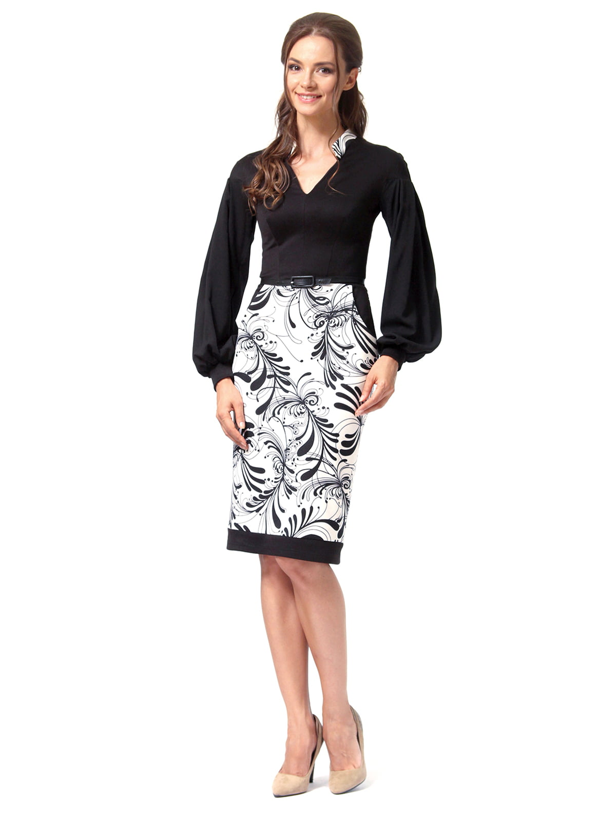 Платье черное с принтом | 4518867 | фото 4