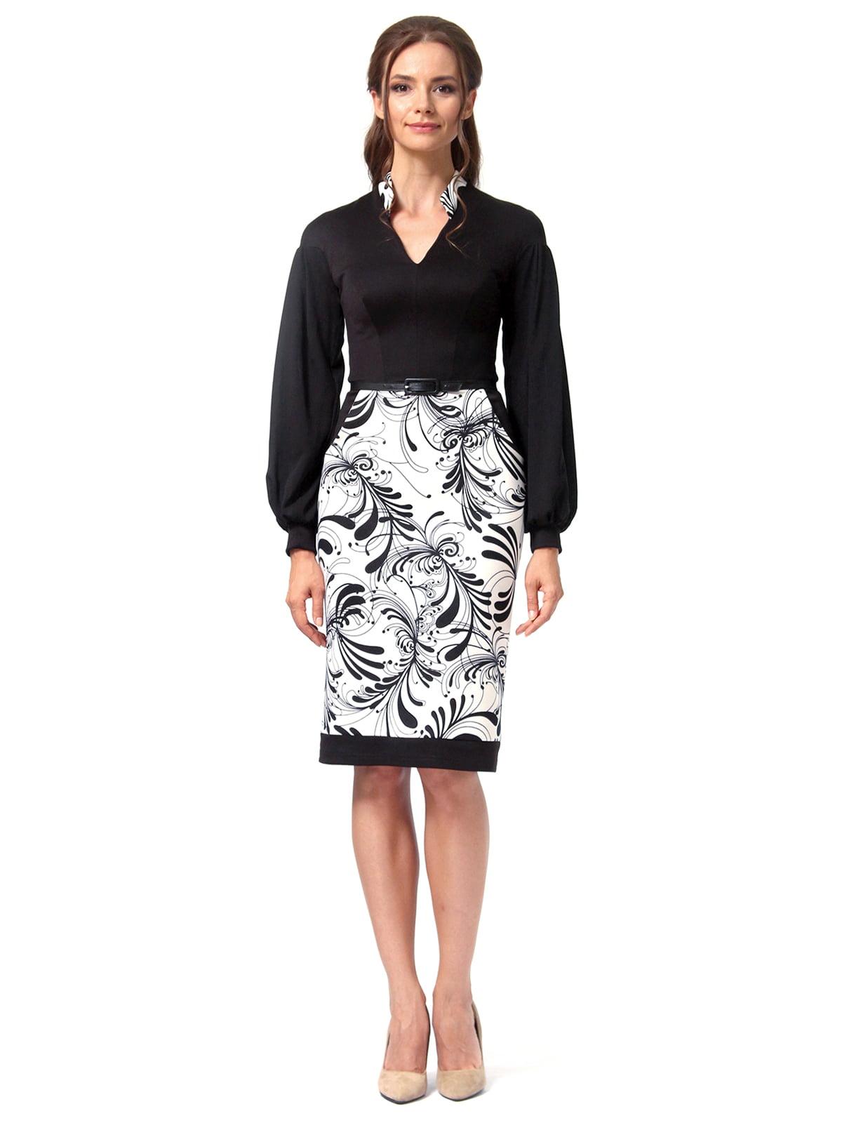 Платье черное с принтом | 4518867 | фото 5