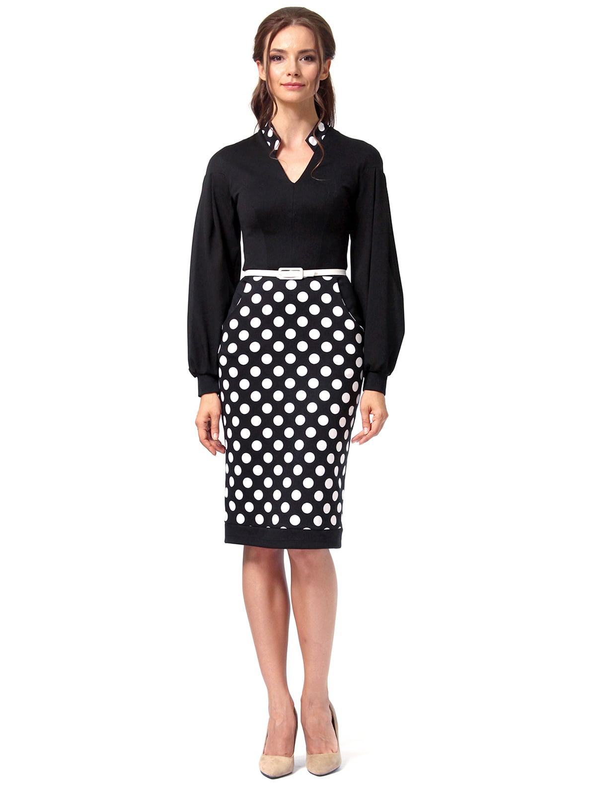 Платье черное в горошек | 4518868 | фото 4