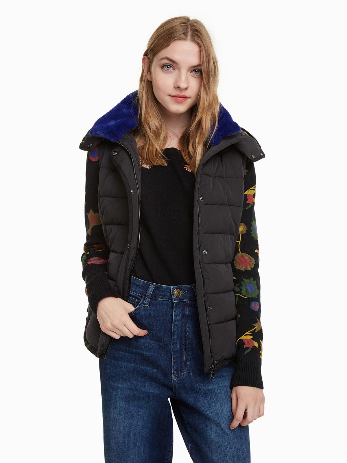 Куртка черная с принтом | 4524245 | фото 2