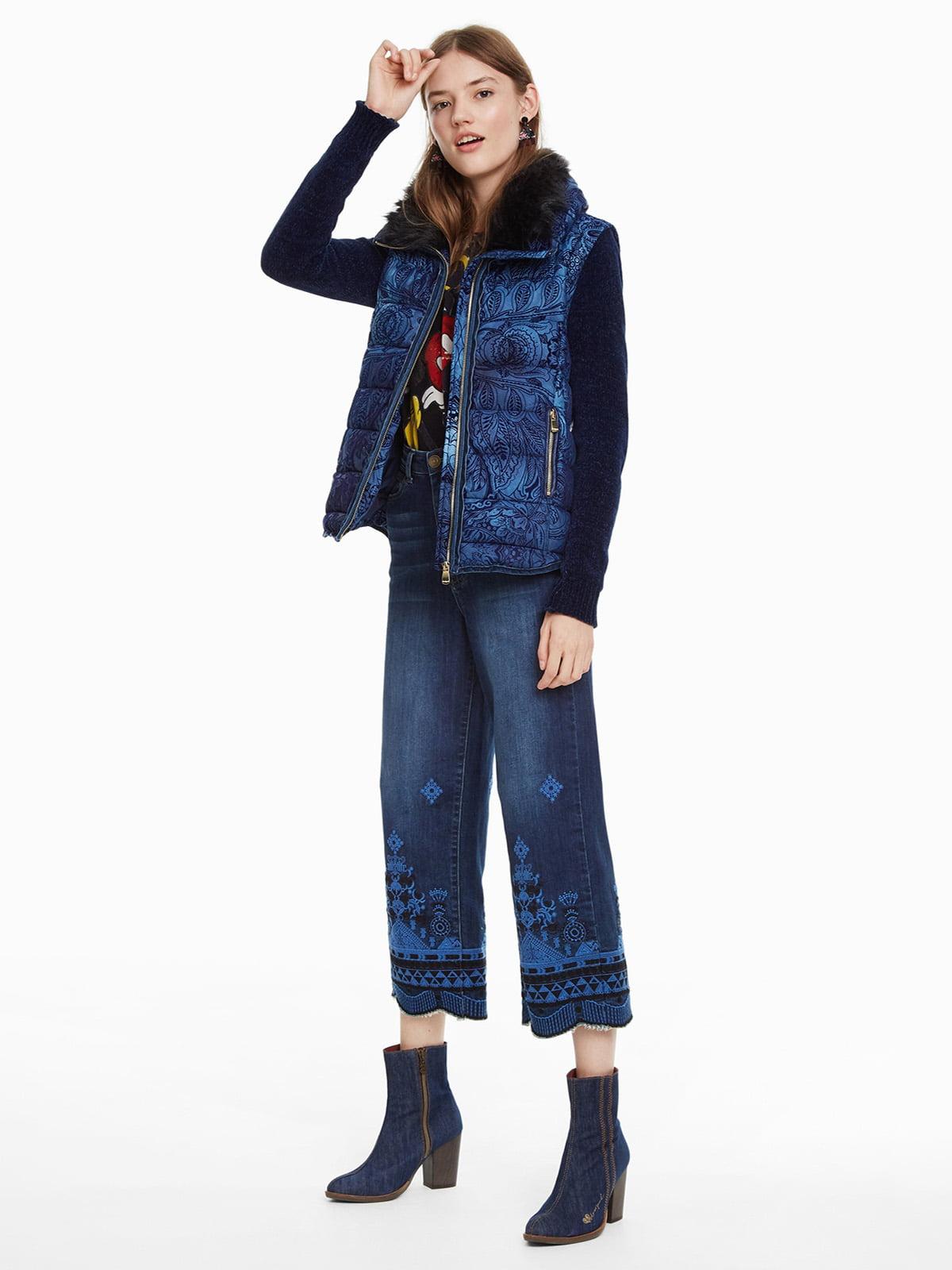 Куртка синя з принтом | 4524254