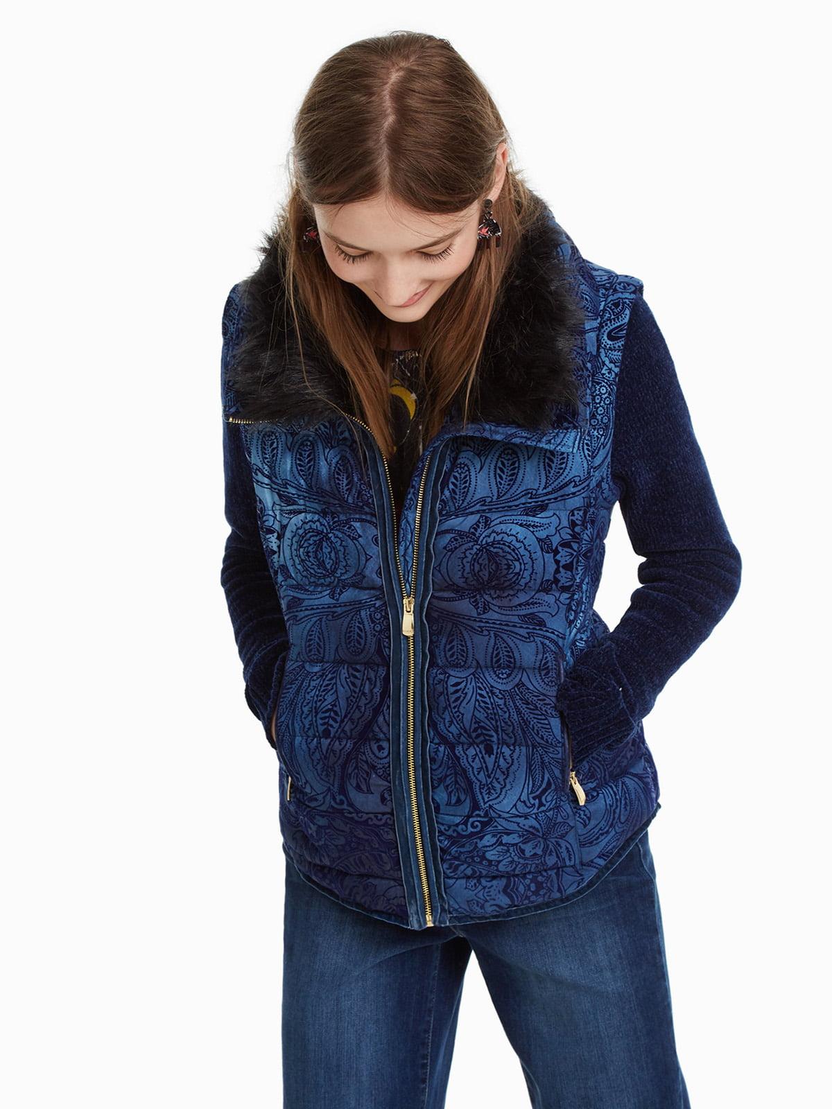 Куртка синя з принтом | 4524254 | фото 2