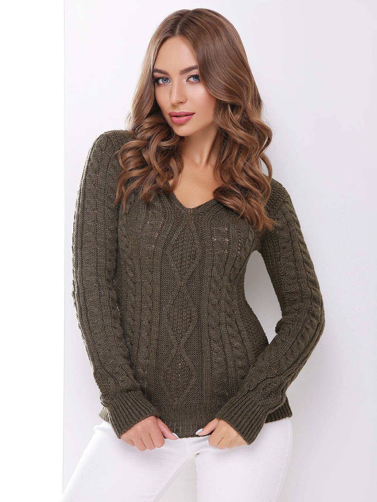 Пуловер кольору хакі   3822989