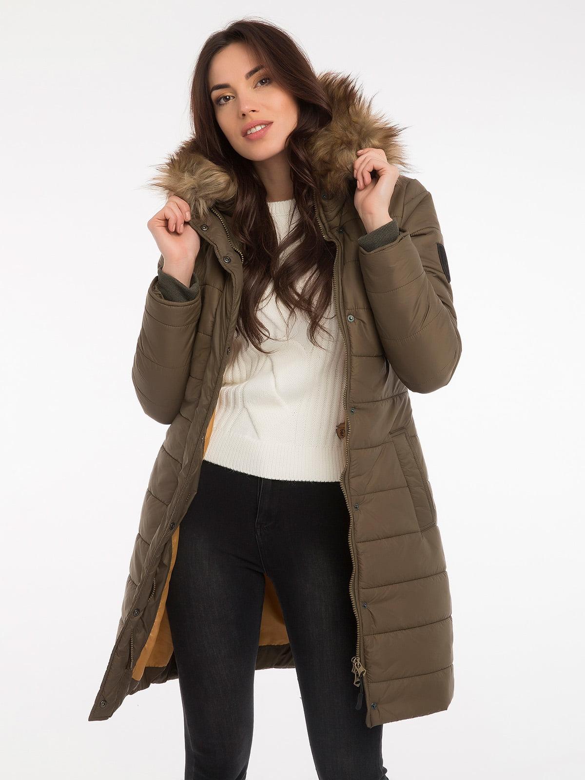 Пальто цвета хаки | 3797413 | фото 8