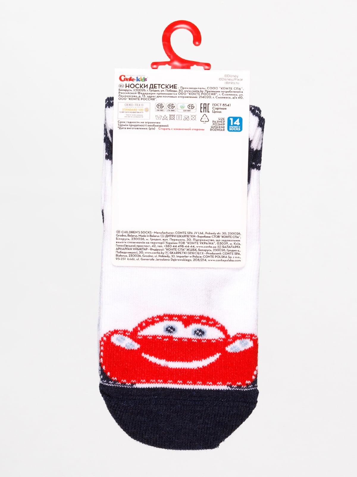 Шкарпетки білі «Тачки» | 4366833 | фото 2