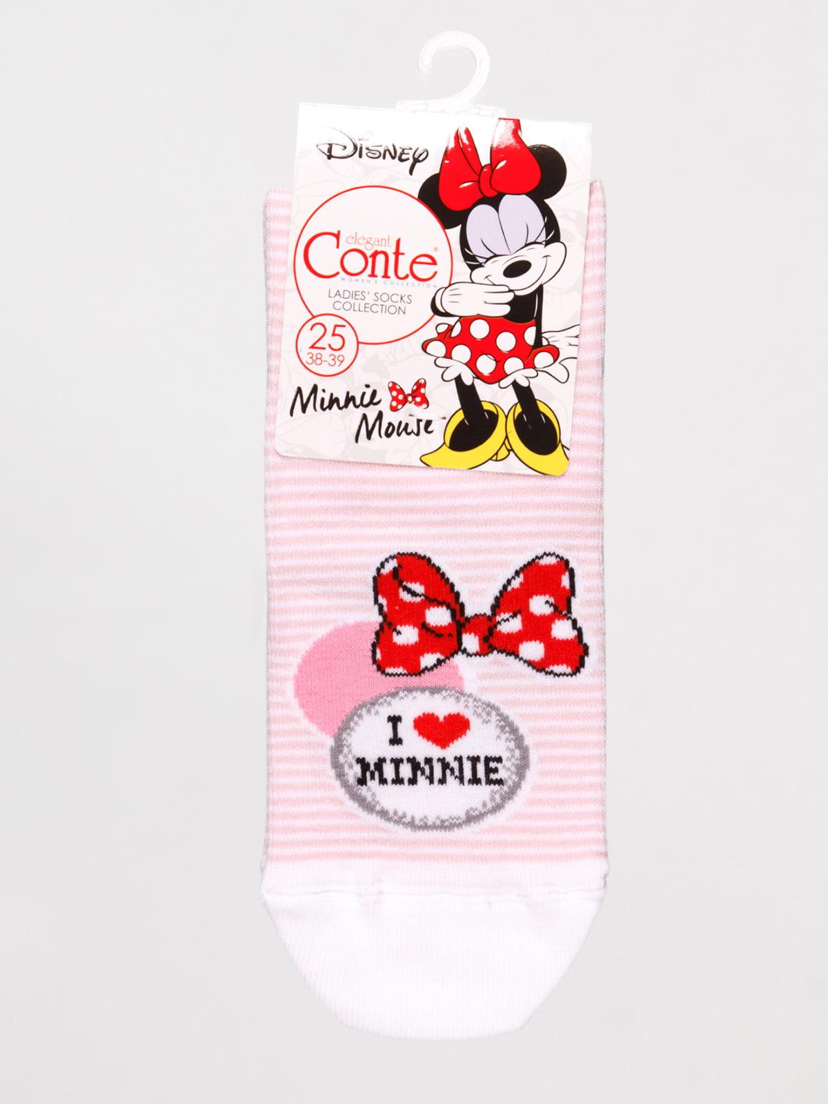 Носки розовые в полоску «Минни Маус» | 4366529