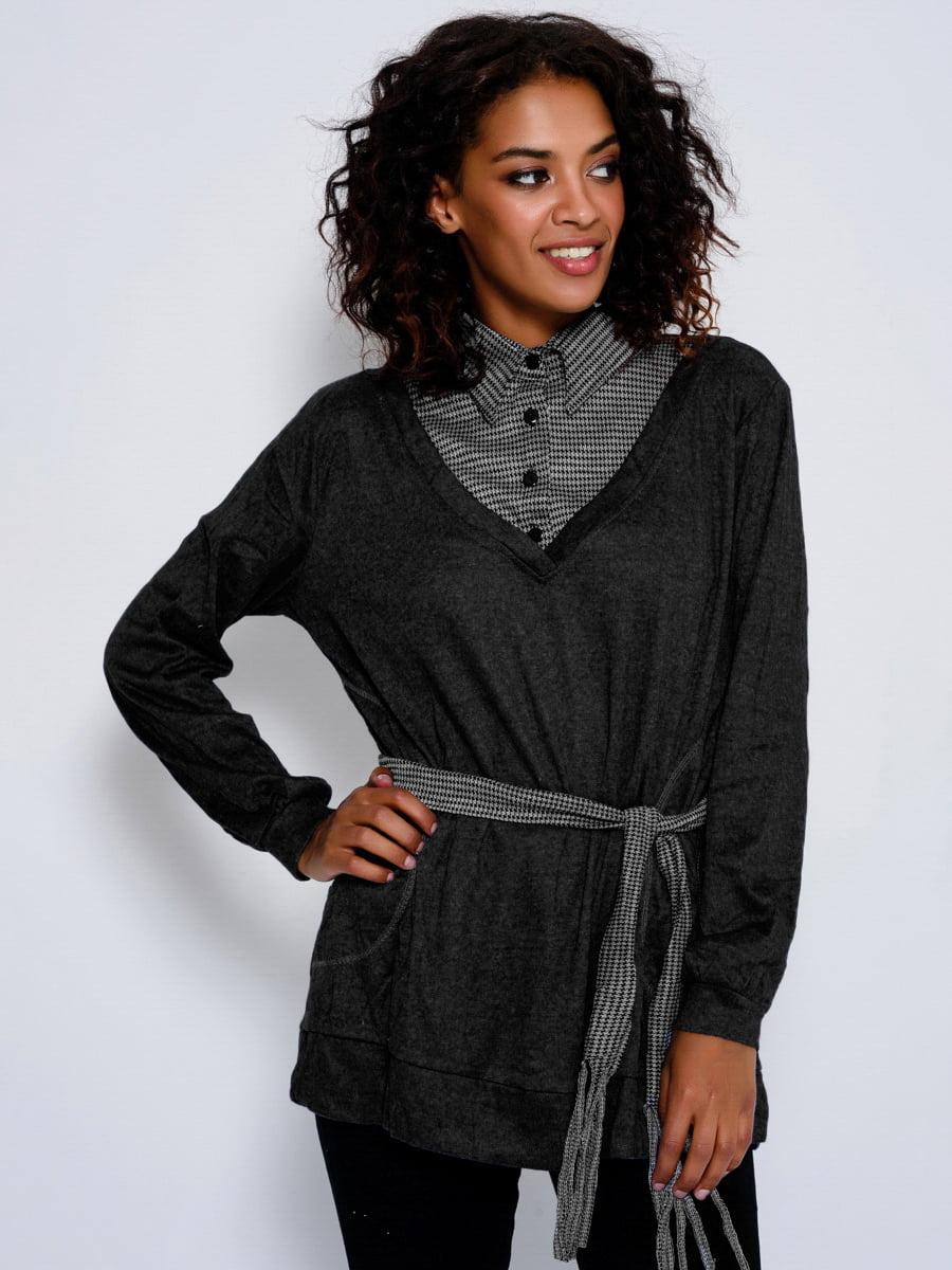Джемпер черный со стилизованной клетчатой блузой | 4479637