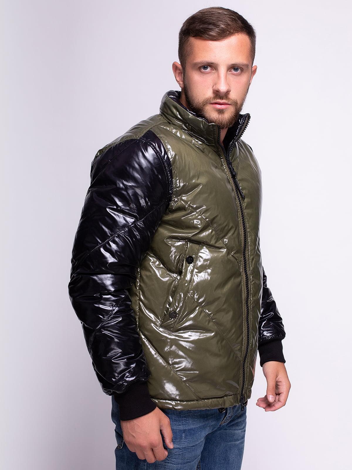 Куртка чорно-зелена | 4527782