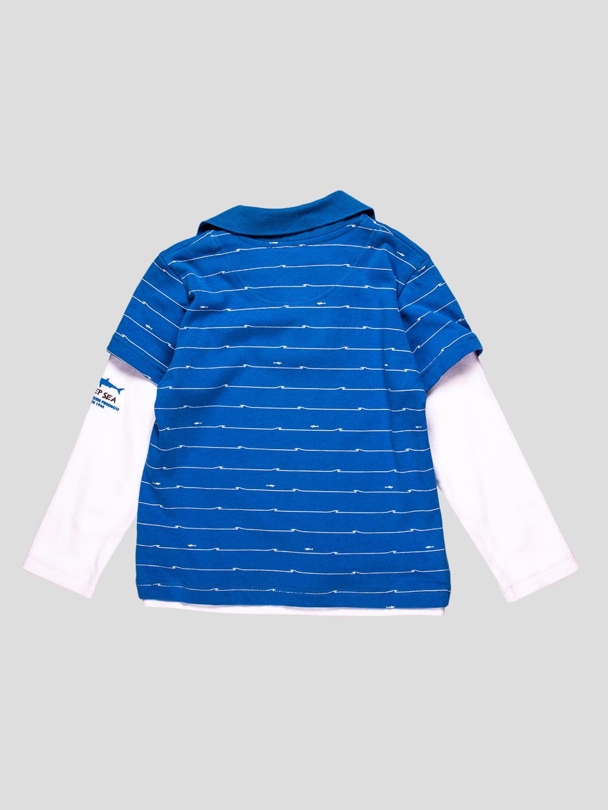 Лонгслів-поло синій | 23564 | фото 2