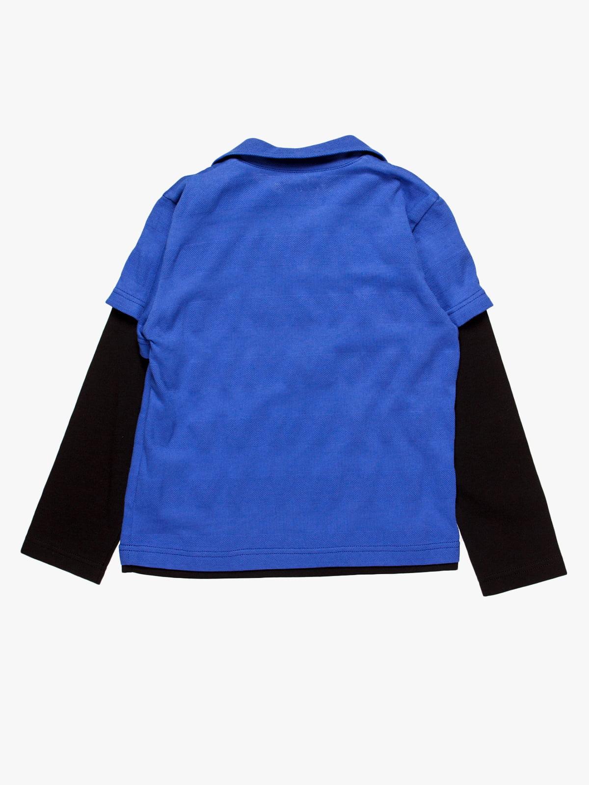 Лонгслів-поло синій | 4398097 | фото 2