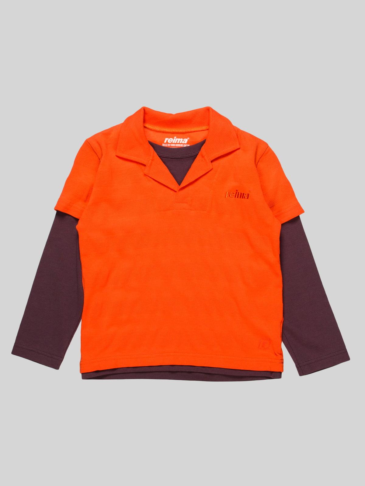 Лонгслів-поло помаранчевий | 4398098