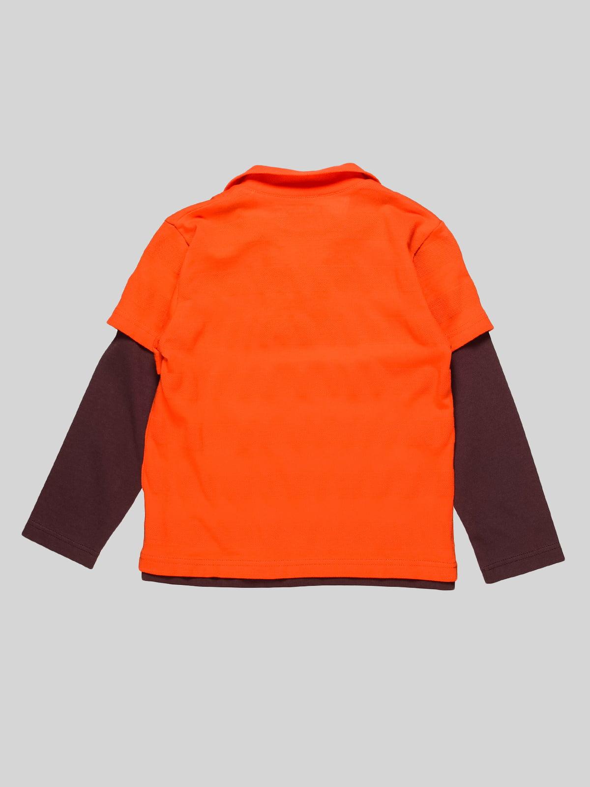 Лонгслів-поло помаранчевий | 4398098 | фото 2