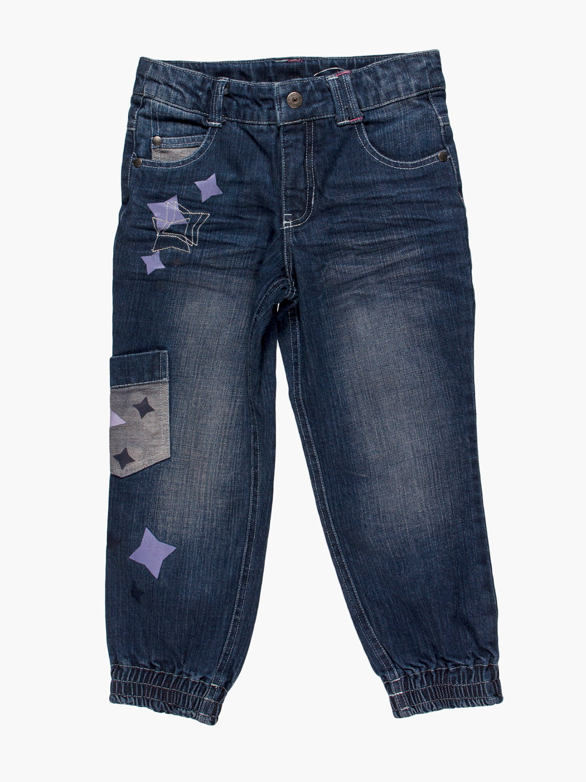 Джинси темно-сині з принтом і кишенею   4398193