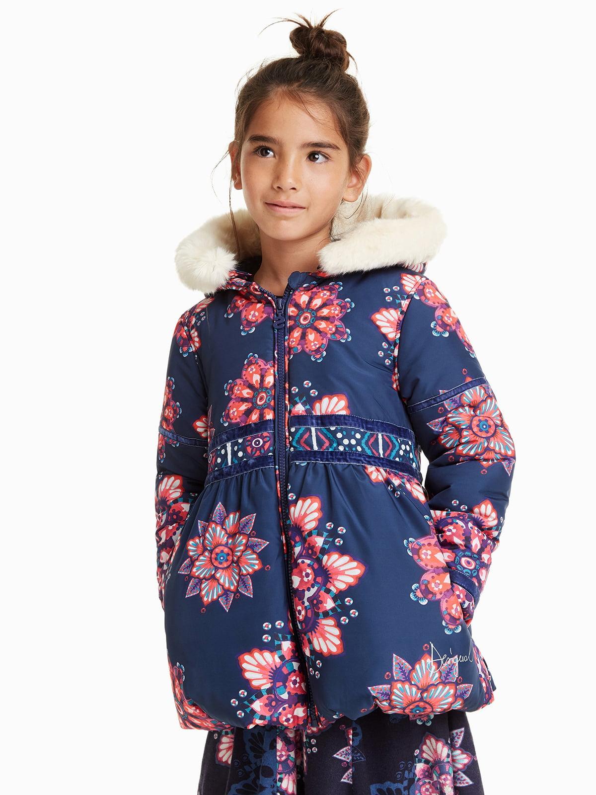 Куртка синяя в цветочный принт   4542784