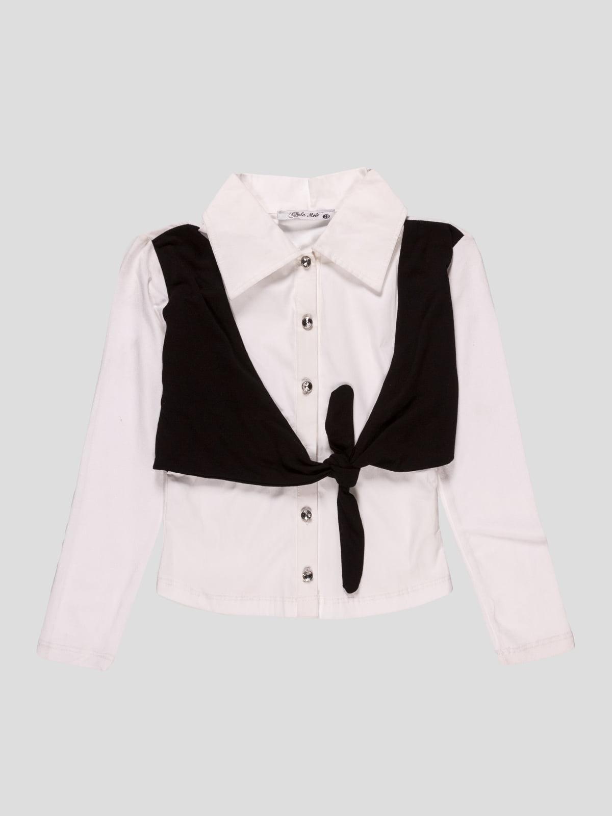 Сорочка біла зі стилізованим жилетом | 2913311