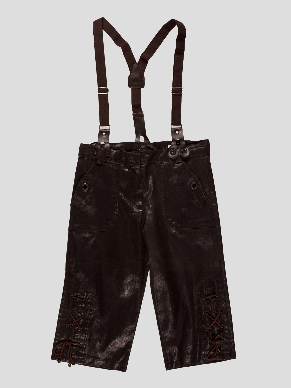 Капри коричневые с подтяжками | 3420709