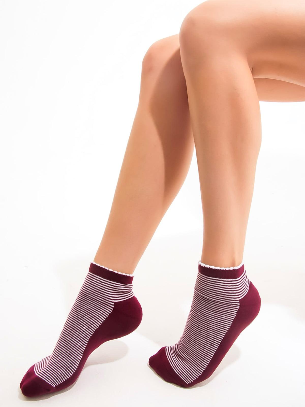 Шкарпетки бордові в смужку | 3563242