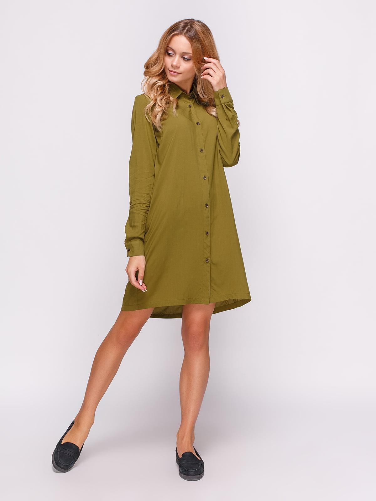 Платье-рубашка цвета хаки | 4547651