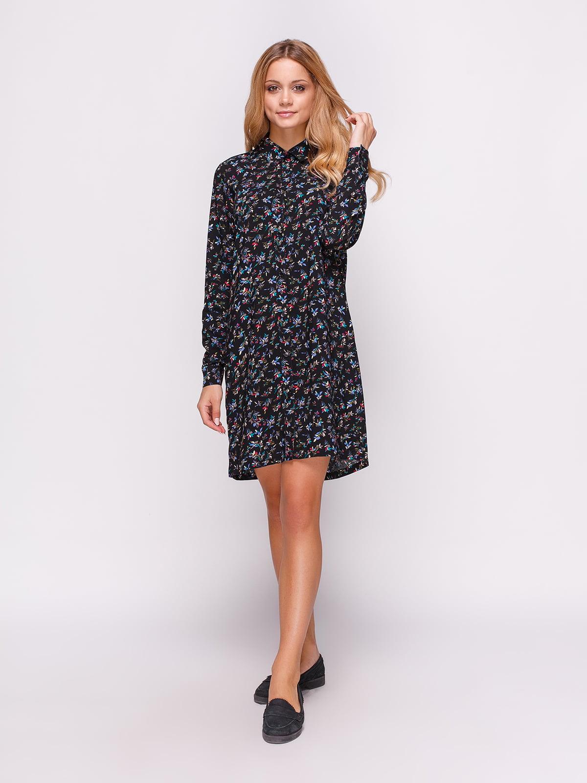 Сукня-сорочка чорна в принт | 4547654