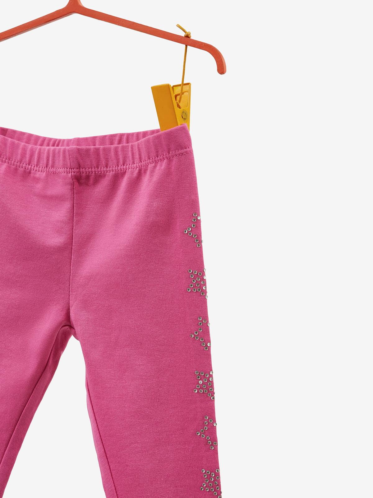 Леггинсы розовые с декором | 4534091