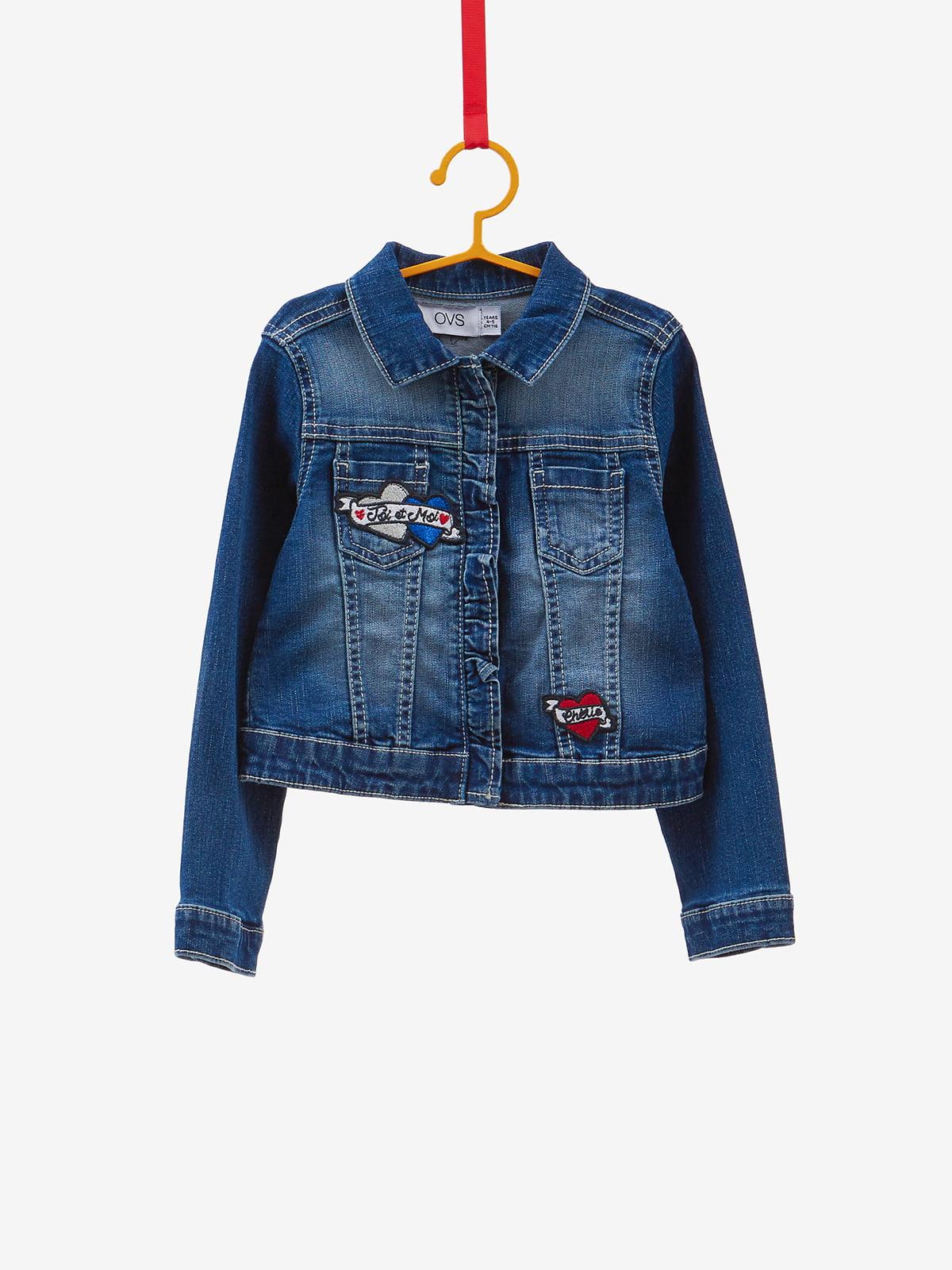 Куртка синяя джинсовая с аппликациями | 4534212