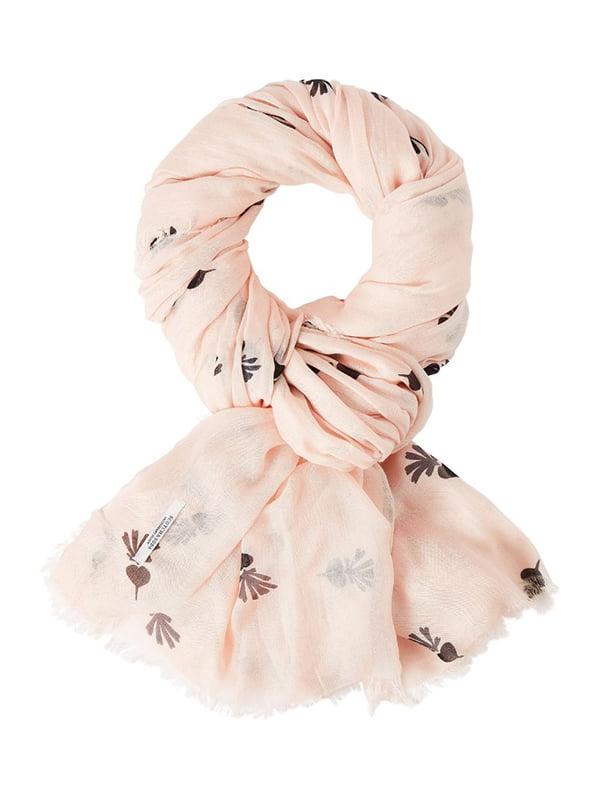 Шарф розовый с принтом | 4527576