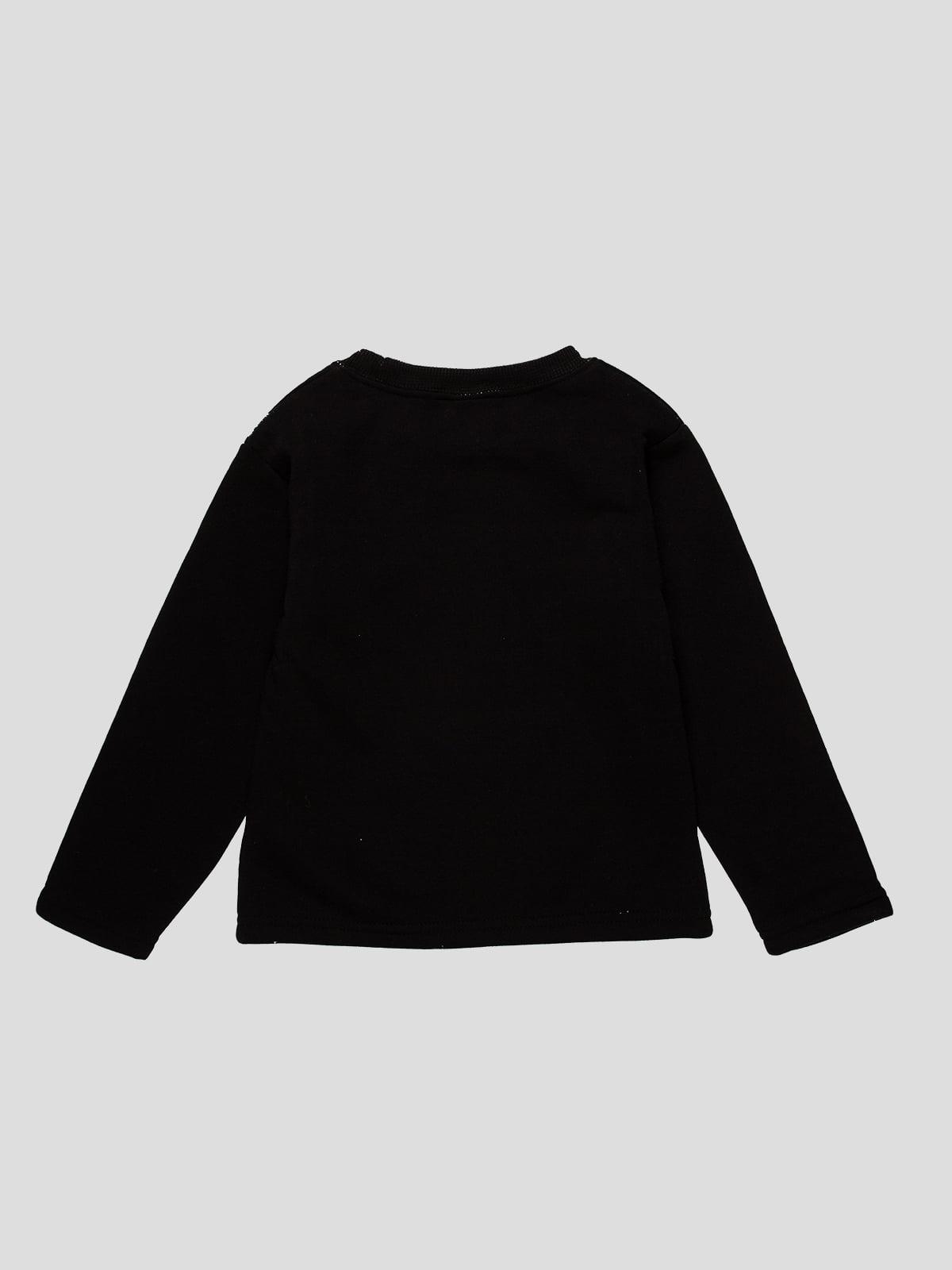 Лонгслів чорний з принтом | 4515683 | фото 2