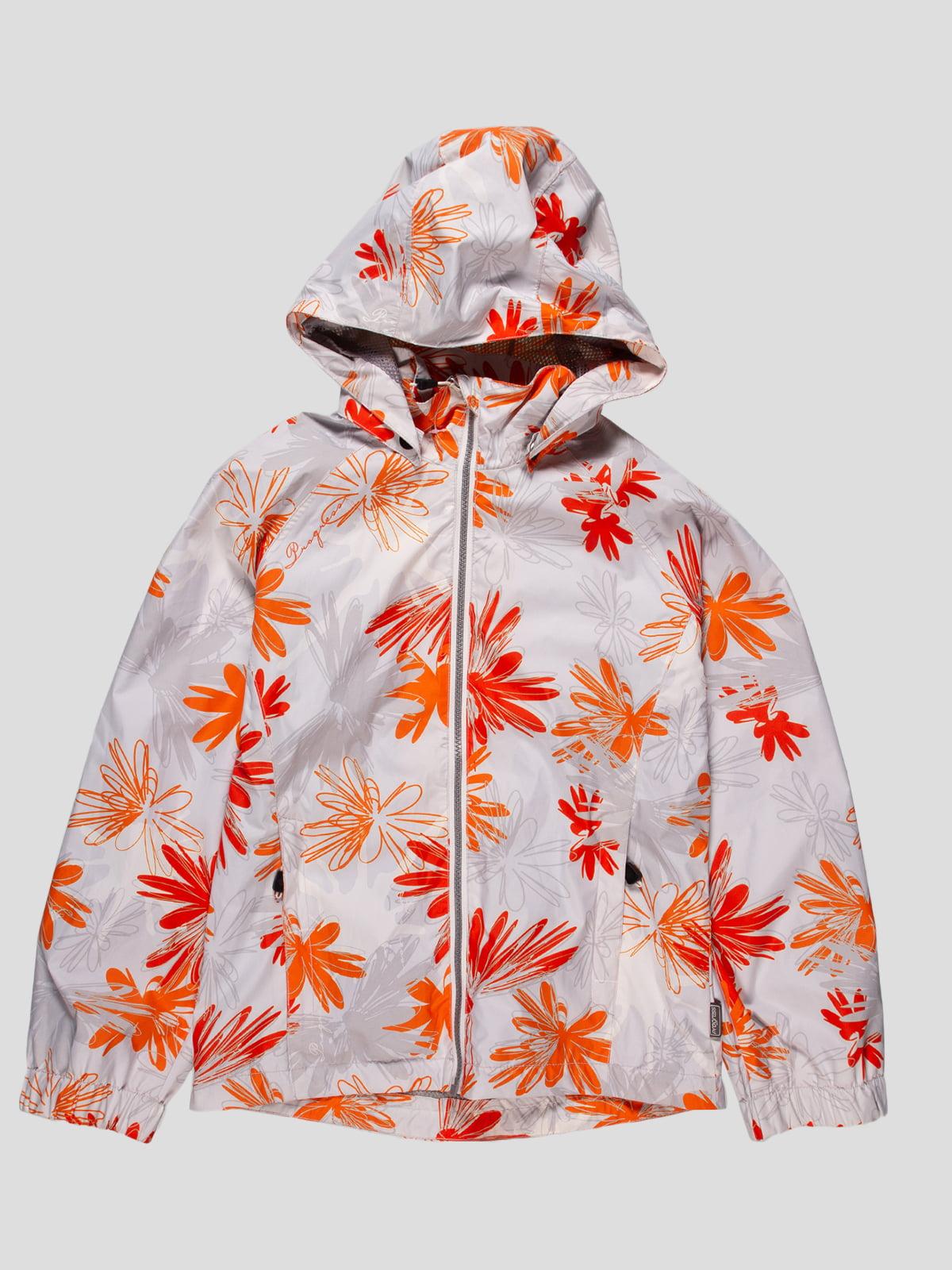 Вітрівка біла в помаранчевий квітковий принт | 4545993