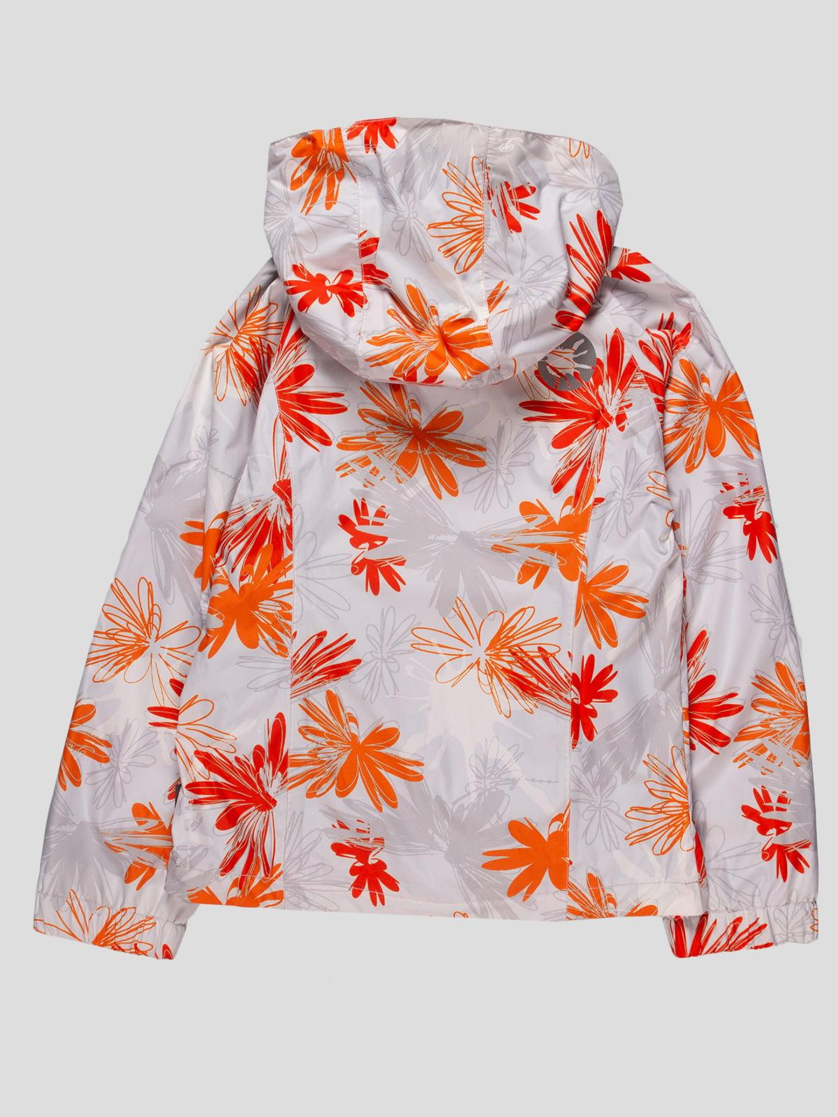 Вітрівка біла в помаранчевий квітковий принт | 4545993 | фото 2