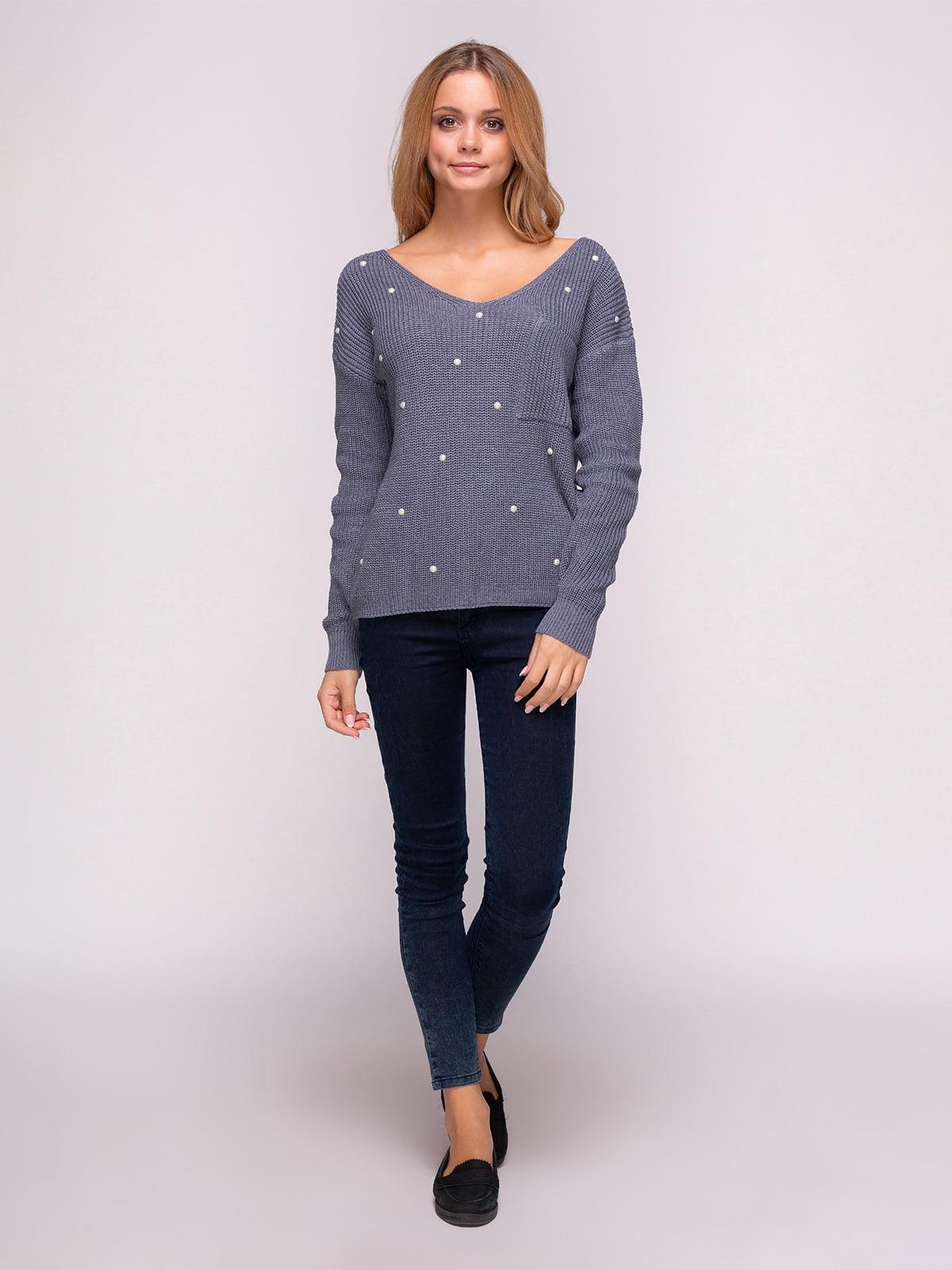 Пуловер димного кольору | 4567061 | фото 2
