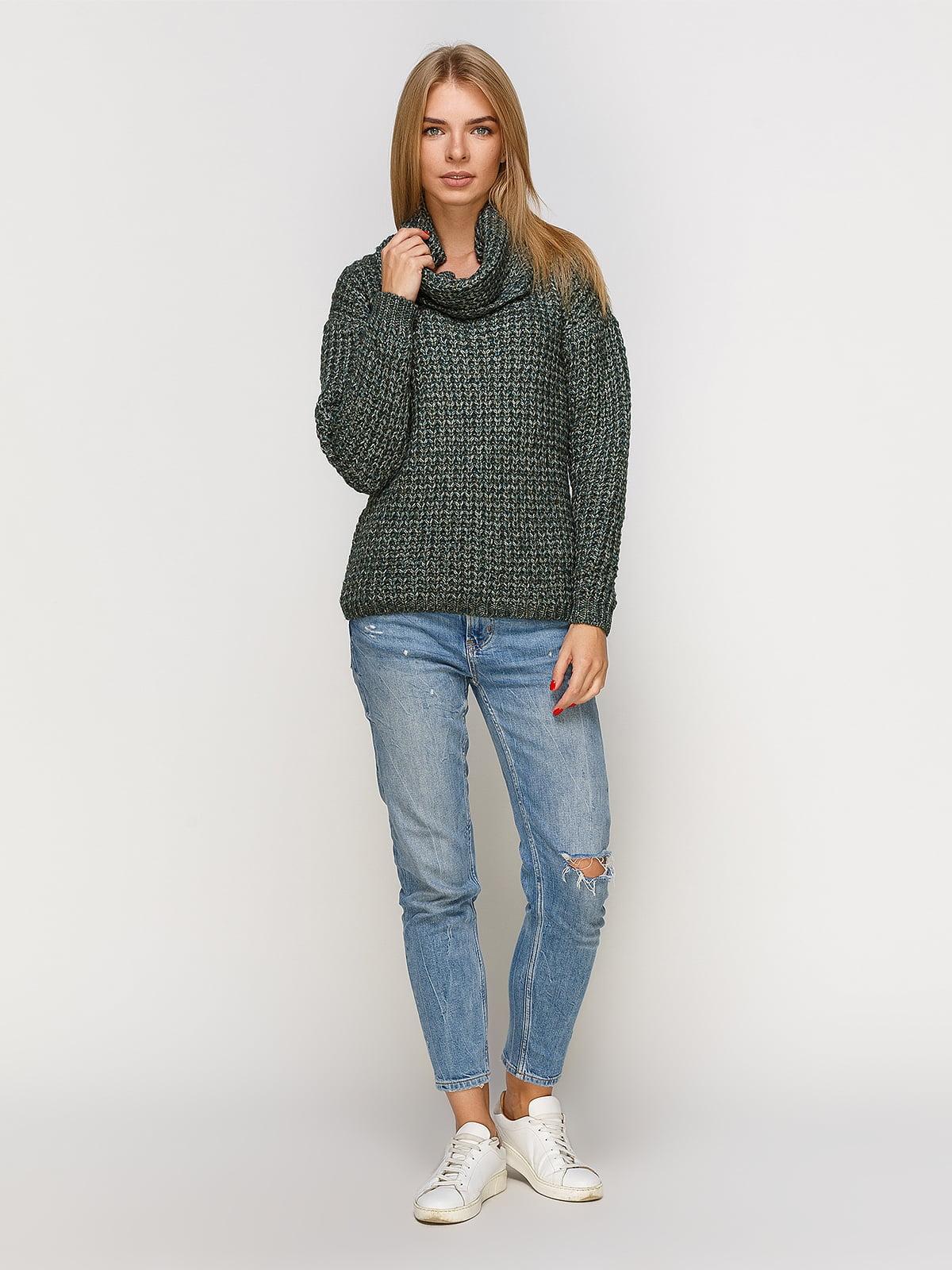 Пуловер смарагдового кольору зі знімним коміром-хомут   4567003   фото 2
