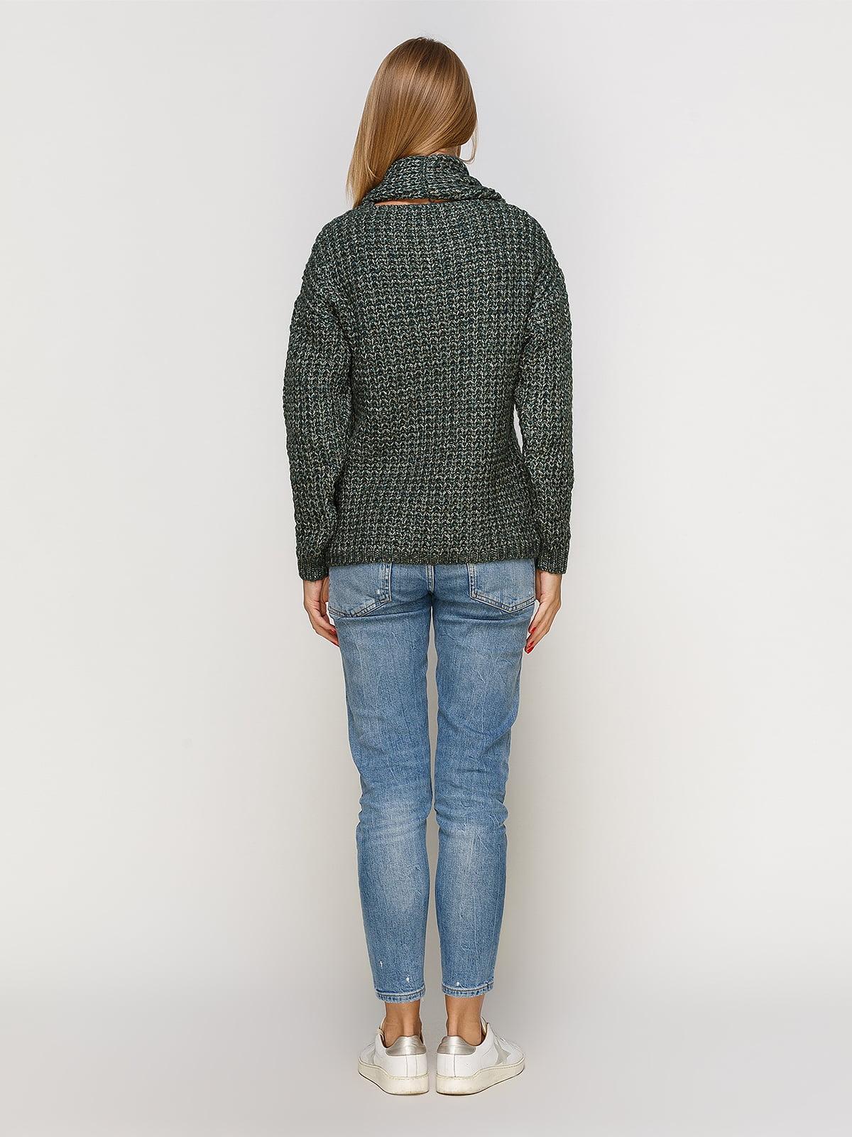 Пуловер смарагдового кольору зі знімним коміром-хомут   4567003   фото 3
