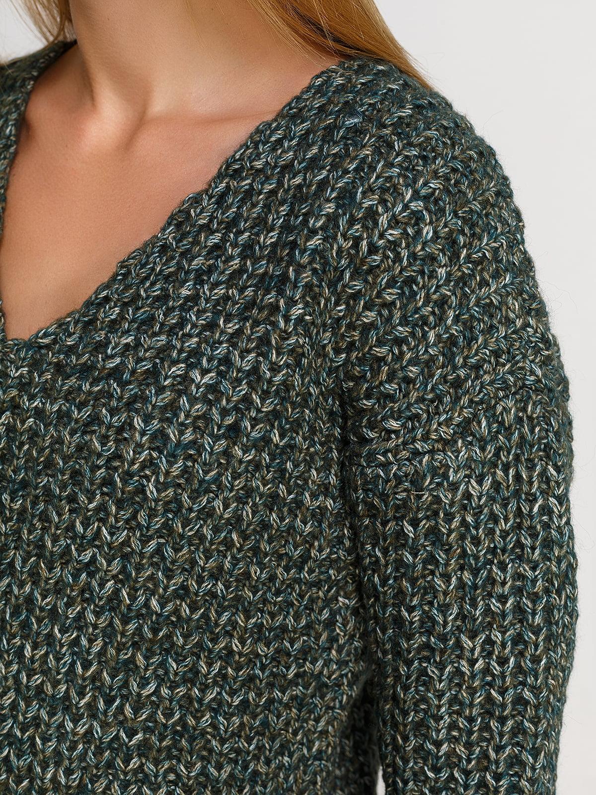 Пуловер смарагдового кольору зі знімним коміром-хомут   4567003   фото 4