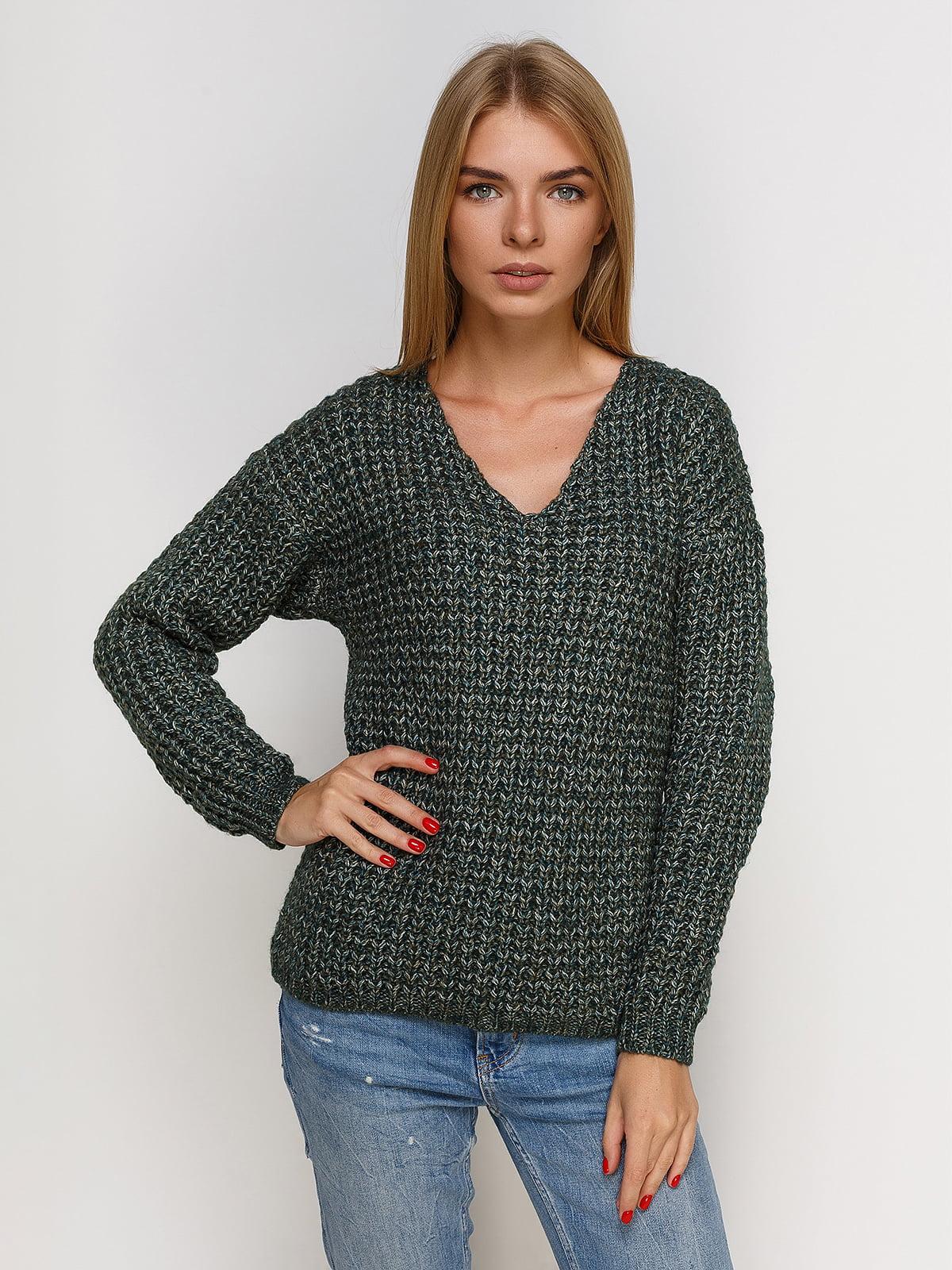 Пуловер смарагдового кольору зі знімним коміром-хомут   4567003
