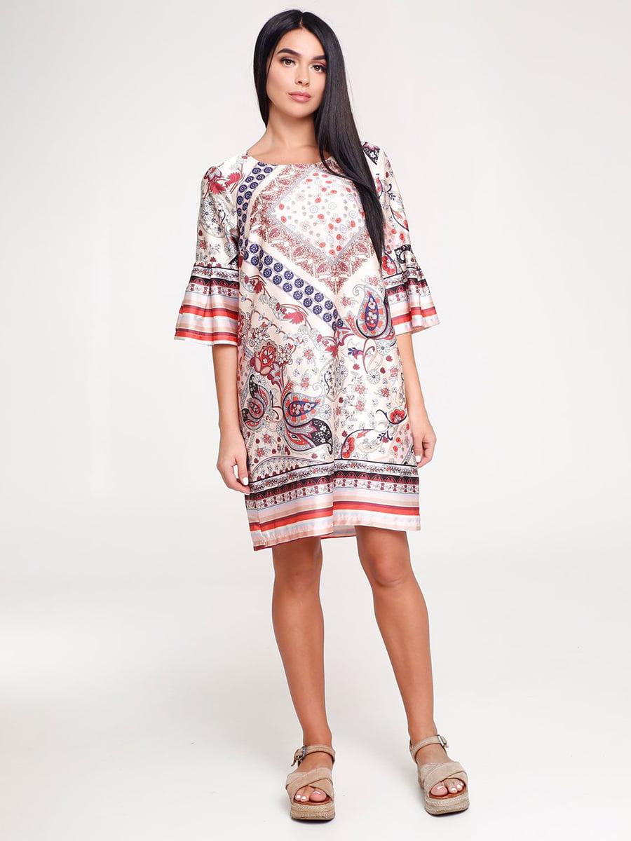 Платье бежевое в принт | 4463721