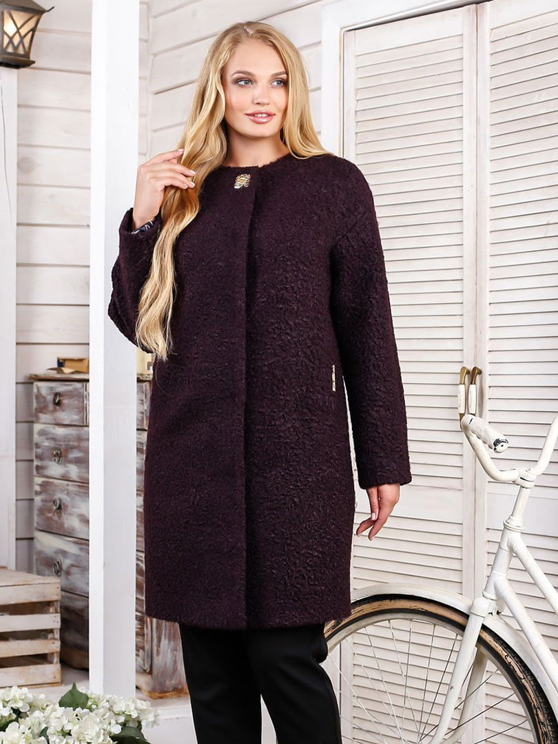 Пальто темно-фіолетове | 4498651