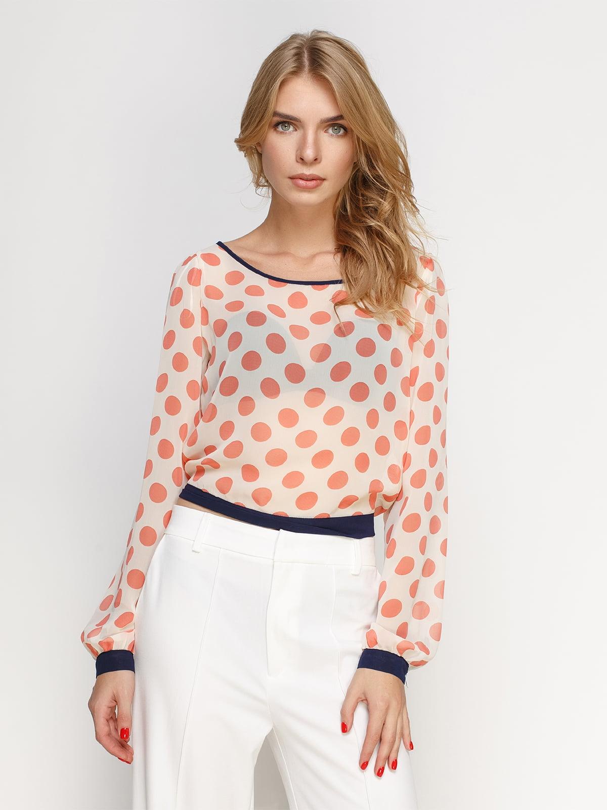 Блуза персикового кольору в горошок | 4511288
