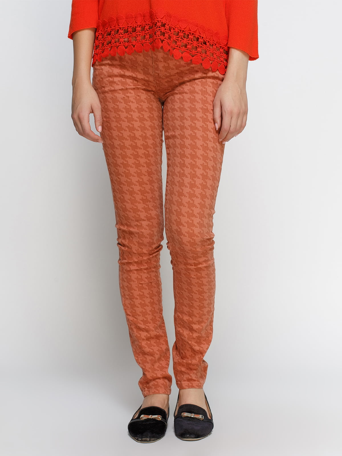 Штани помаранчеві в гусячу лапку | 4531030