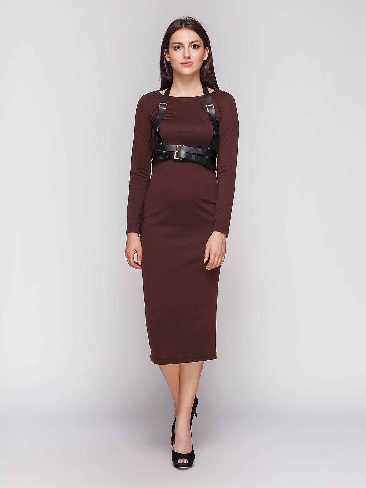 Платье коричневое с портупеей   3665345