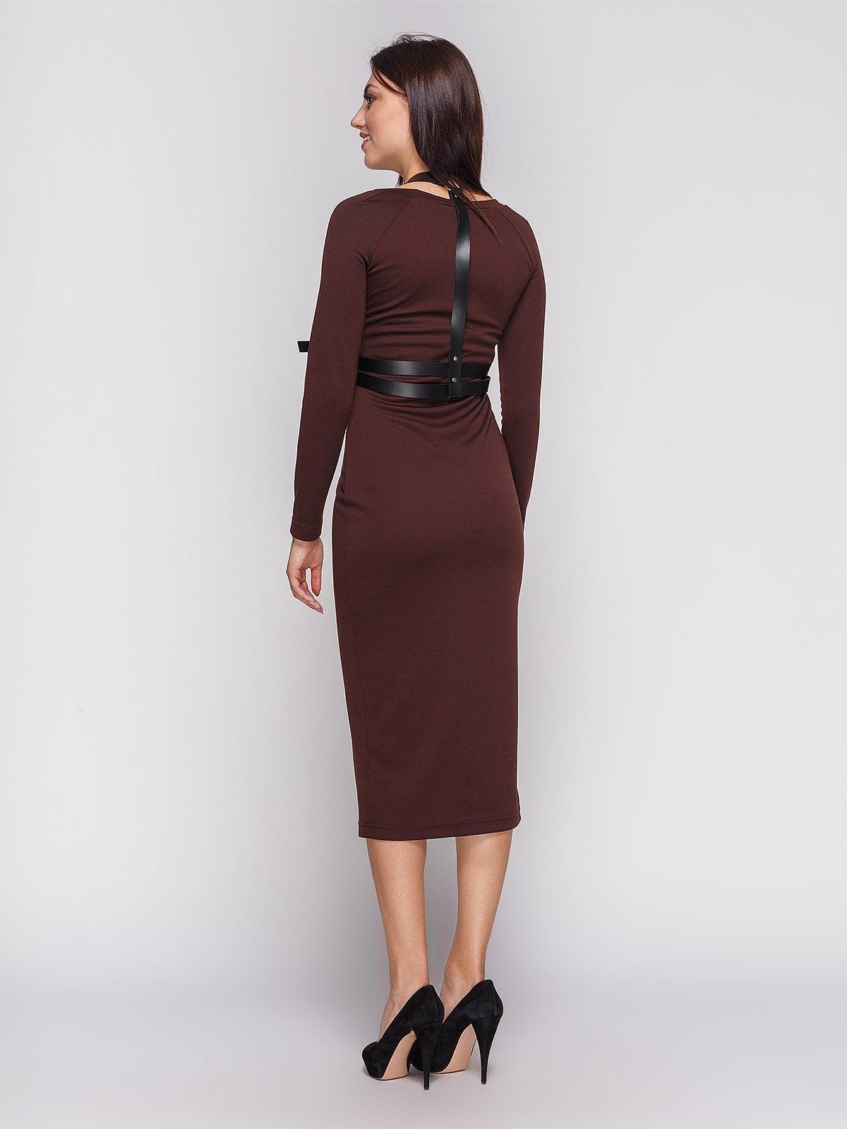 Платье коричневое с портупеей   3665345   фото 2