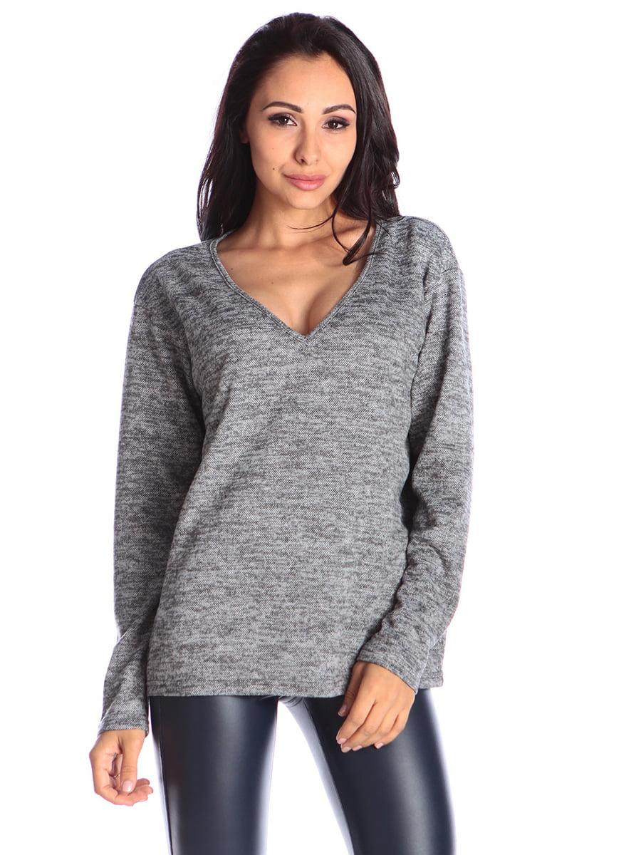 Пуловер кольору сірий меланж | 4579685